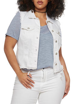 Plus Size WAX Jean High Low Frayed Vest - WHITE - 1876071610073