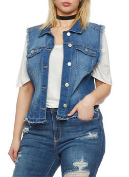 Plus Size WAX Jean High Low Frayed Vest - MEDIUM WASH - 1876071610073