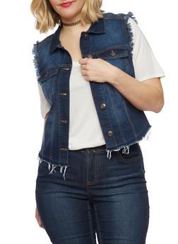 Plus Size WAX Jean High Low Frayed Vest - DARK WASH - 1876071610073