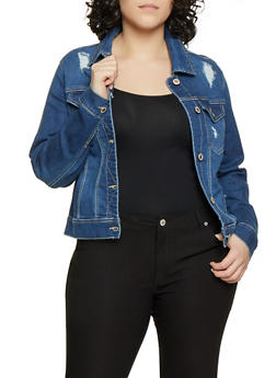 Plus Size WAX Basic Distressed Denim Jacket - 1876071610126