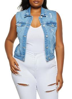 Plus Size WAX Distressed Denim Vest - 1876071610290