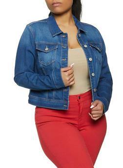 Plus Size WAX Jean Jacket - 1876071611800