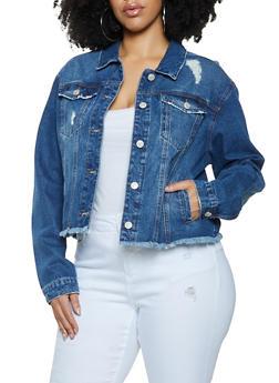 Plus Size WAX Frayed Hem Denim Jacket - 1876071611810