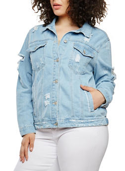 Plus Size WAX Destroyed Denim Jacket - 1876071619105