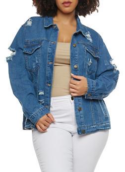 Plus Size WAX Destroyed Denim Jacket - 1876071619105