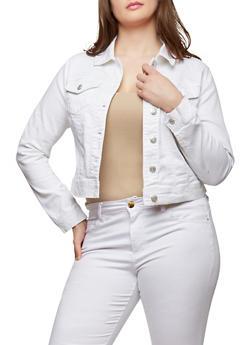 Plus Size WAX Black Jean Jacket - WHITE - 1876071619117