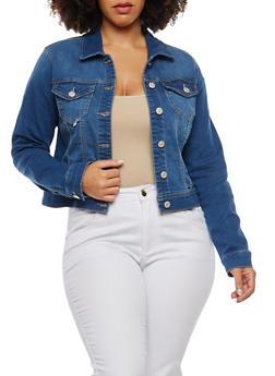 Plus Size WAX Black Jean Jacket - 1876071619117