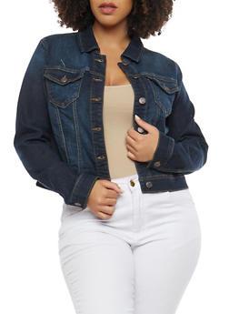 Plus Size WAX Black Jean Jacket - DARK WASH - 1876071619117