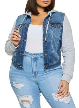 Plus Size WAX Hooded Denim Jacket - 1876071619214