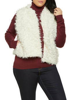 Plus Size Faux Fur Open Front Vest - 1884038340103