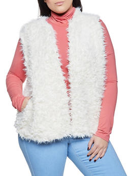 Plus Size Open Front Faux Fur Vest - 1884038340105