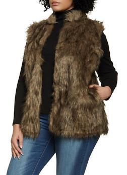 Plus Size Faux Fur Vest - 1884038340107