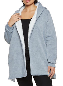 Plus Size Sherpa Lined Hooded Jacket - 1884038344410