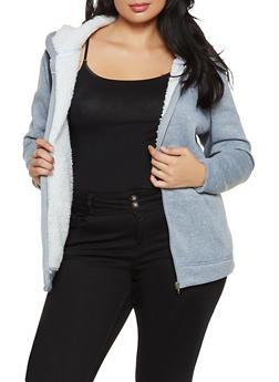 Plus Size Sherpa Lined Zip Jacket - 1884038344411