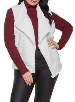 Plus Size Sherpa Open Front Vest - 1884038344558