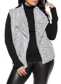 Plus Size Sherpa Open Front Vest - 1884038344558