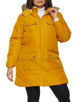 Plus Size Sherpa Lined Puffer Jacket - 1884051067744