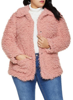 Plus Size Sherpa Collared Jacket - 1884054260570