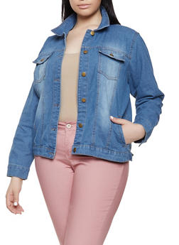 Plus Size Basic Jean Jacket - 1886038340101