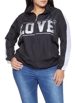 Plus Size Love Graphic Hooded Windbreaker - 1886038342788