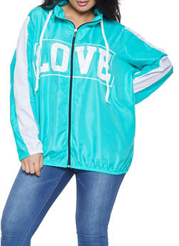 Plus Size Love Graphic Hooded Windbreaker - 1886038342788