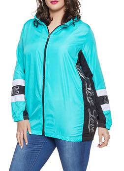 Plus Size Love Windbreaker Jacket - 1886038342792