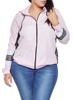 Plus Size Love Graphic Hooded Windbreaker - 1886038342792