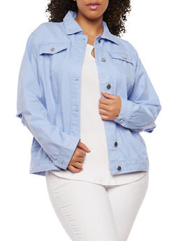 Plus Size Distressed Elbow Denim Jacket - 1886038348089