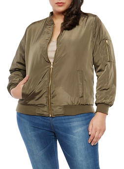 Plus Size Zipper Sleeve Detail Bomber Jacket - 1886051060010