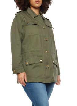 Plus Size Tabbed Shoulder Anorak Jacket - 1886051060447
