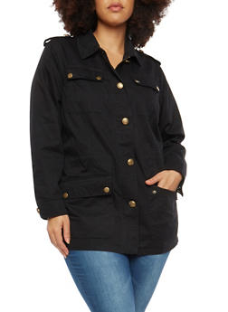 Plus Size Twill Tabbed Shoulder Anorak Jacket - 1886051060448