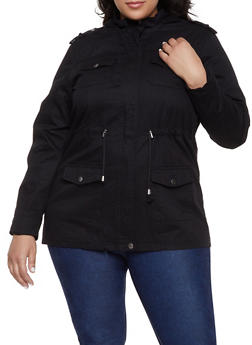 89efb82af28 Plus Size Hooded Anorak Jacket - 1886051061090
