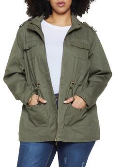 Plus Size Hooded Anorak Jacket - 1886051061090