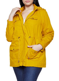 Plus Size Hooded Anorak Jacket - 1886051061090