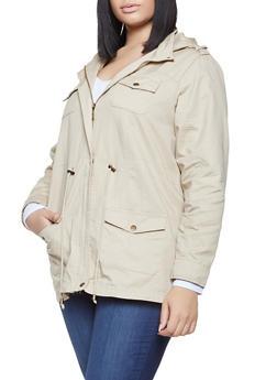 Plus Size Hooded Anorak Jacket - 1886051061092