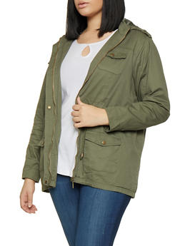 Plus Size Hooded Anorak Jacket - 1886051061092