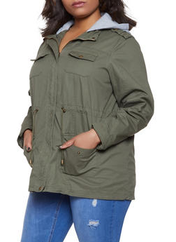 Plus Size Fleece Hooded Anorak Jacket - 1886051061093