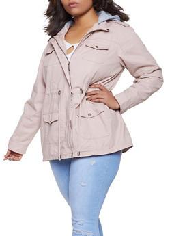 Plus Size Fleece Hooded Anorak Jacket - 1886051061093