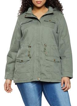 Plus Size Twill Hooded Anorak Jacket - 1886051061094