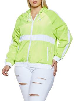 Plus Size Color Block Zip Front Windbreaker Jacket - 1886051061940