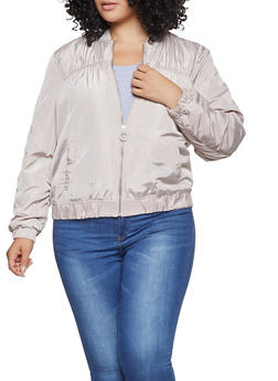 Plus Size Ruched Bomber Jacket - 1886051062560