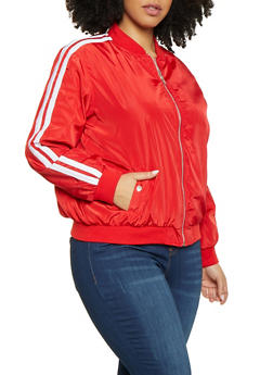 Plus Size Varsity Stripe Nylon Bomber Jacket - 1886051064410