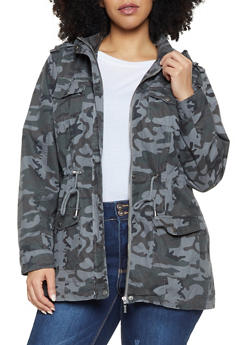96dec5ec06f Plus Size Camo Anorak Jacket - 1886051064610