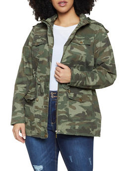 Plus Size Camo Anorak Jacket - 1886051064610