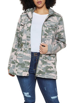 50bb88e9 Plus Size Camo Anorak Jacket - 1886051064610