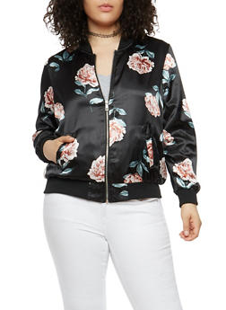 Plus Size Floral Satin Bomber Jacket - 1886051065340