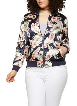 Plus Size Floral Satin Bomber Jacket - PRINT26-2019 - 1886051065340