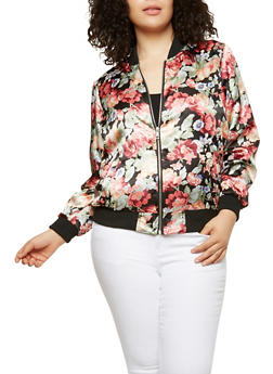 Plus Size Floral Satin Bomber Jacket - BLACK MULTI38-1441 - 1886051065340