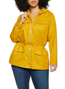 Plus Size 4 Pocket Hooded Anorak Jacket - 1886051065417