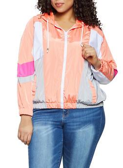 Plus Size Color Block Zip Windbreaker Jacket - 1886051065431